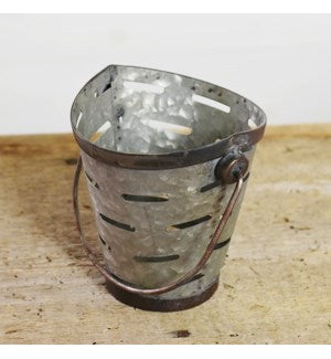 "Galvanized Vented Tin Olive Bucket 5"" H"