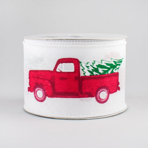 "Vintage Red Truck with Tree Ribbon: White - 2.5"" W x 10 yards"