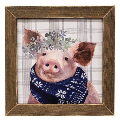 Wintry Scrapple the Pig Framed Print