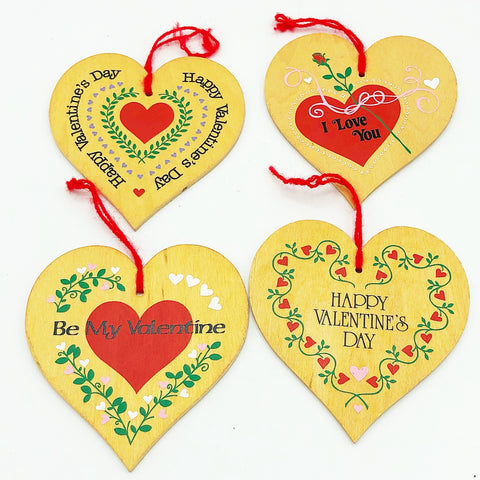 Set of 4 Valentine's Day Wooden Heart Ornaments