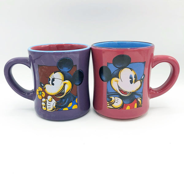 Set of 2 Mickey and Minnie Mouse Purple & Magenta Disney Mugs