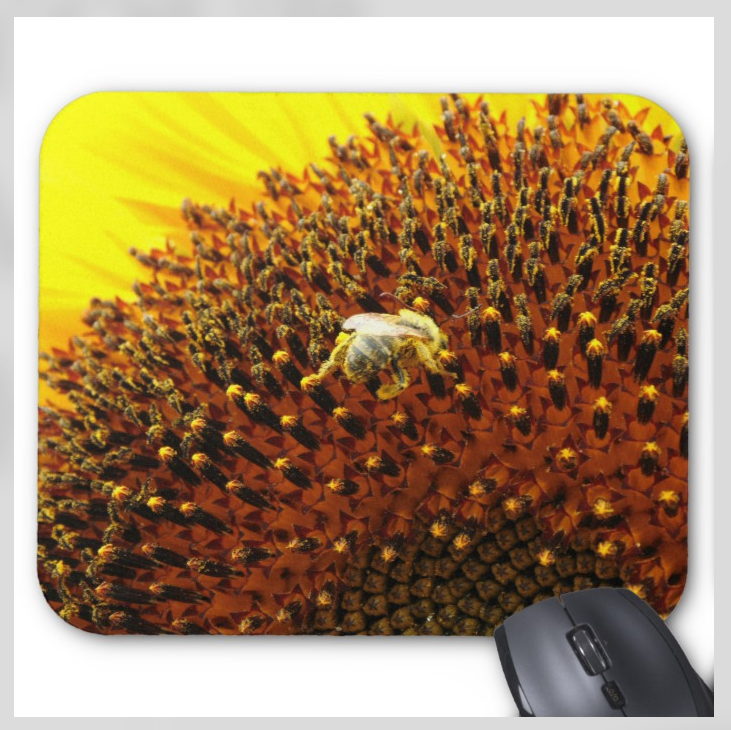 Sunflower Photo Mousepad - Bee on Sunflower - Mouse Pad