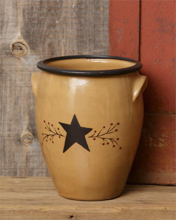 Primitive Star and Berries Confite Pot untensil holder crock