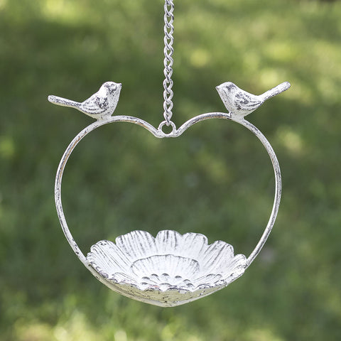 Love Bird Heart Distressed White Hanging Feeder