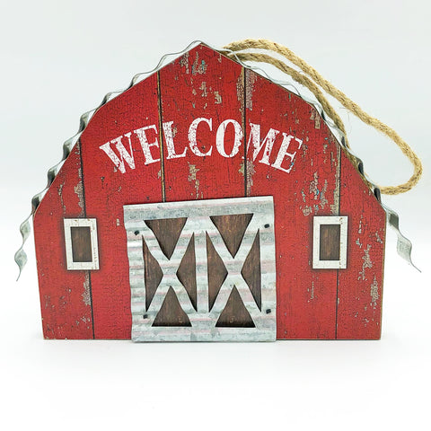 Welcome Barn with Corrugated Metal Accents Ornament