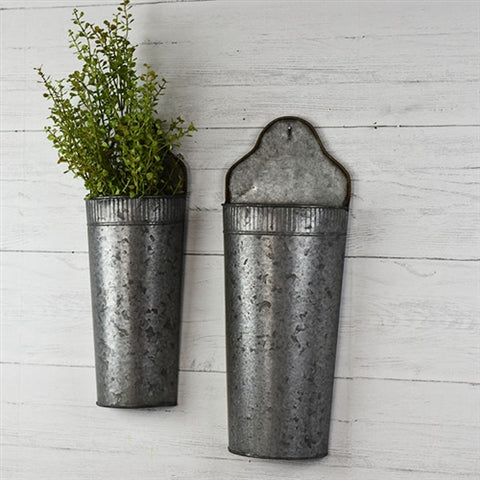 Set of 2 Galvanized Tin Floral Wall Pockets