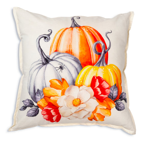Pumpkins and Flowers Cotton Fall Throw Pillow