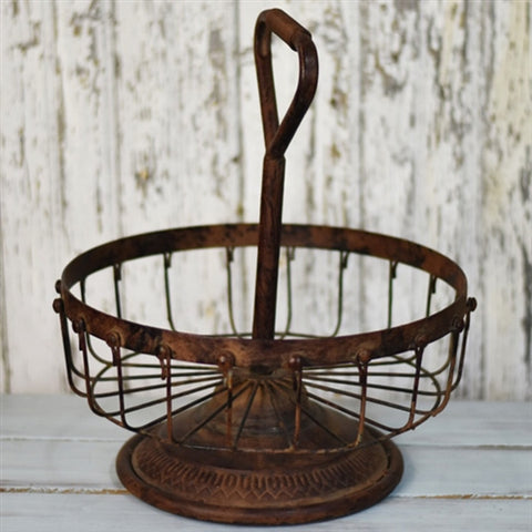 Rustic Tin Cage Bowl with Industrial Handle