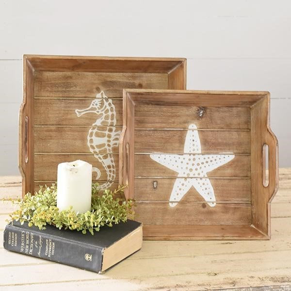 Set of 2 Nautical Wooden Trays - Seahorse and Starfish