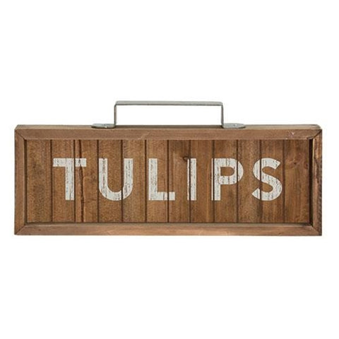 Tulips Slatted Wood Sign with Handle