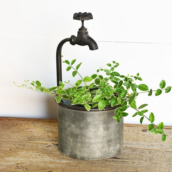 Faucet Topped Galvanized Metal Planter