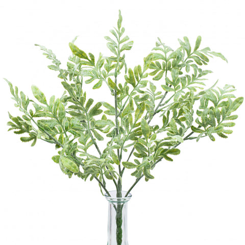 "Flocked Dusty Miller 16"" Bush Spray"
