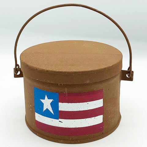 Americana Flag Unscented Candle in Rustic Tin