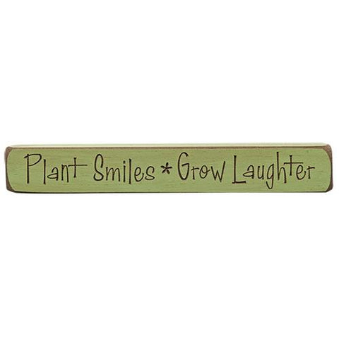 "Plant Smiles, Grow Laughter Engraved 12"" Block"