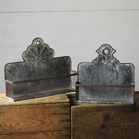 Set of 2 Vintage Style Tin Pockets