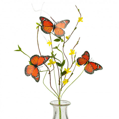 Orange Butterfly Forsythia Twig Faux Spray