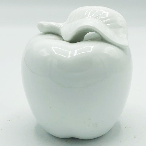 White Ceramic Apple with Leaf Figure