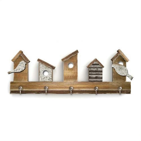 Natural Birdhouse and Birds Wall Hooks - 5 hooks