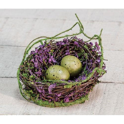 "Natural Mossy 4"" Bird Nest with Two Eggs"