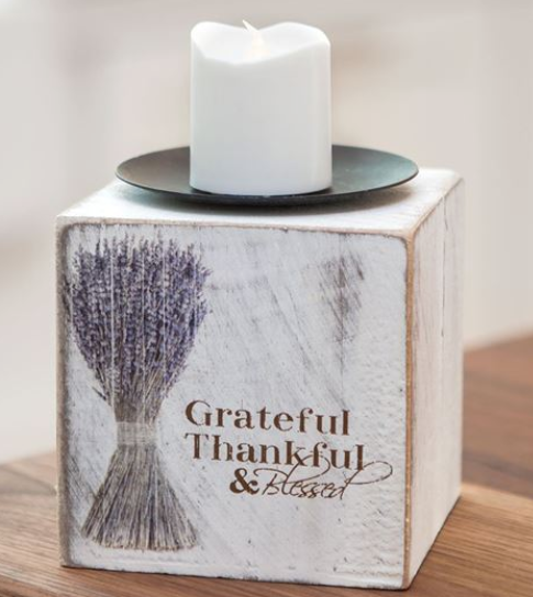 Grateful Thankful & Blessed Lavender Flowers Wooden Candle Block