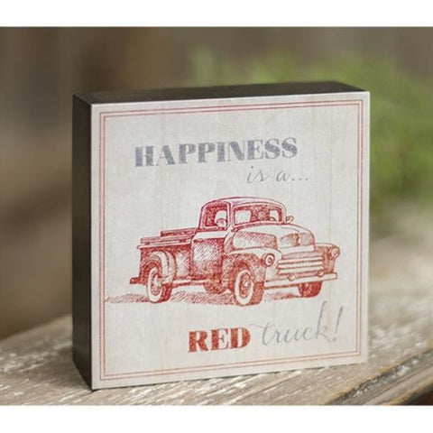 Happiness is a Red Truck Block Sign