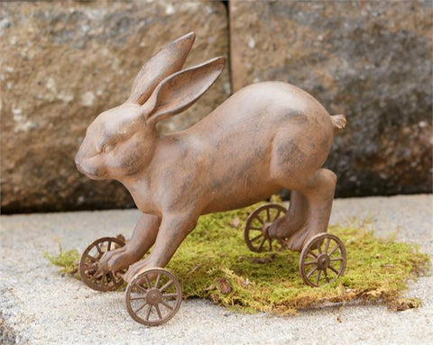 Rustic Rolling Bunny on Wheels