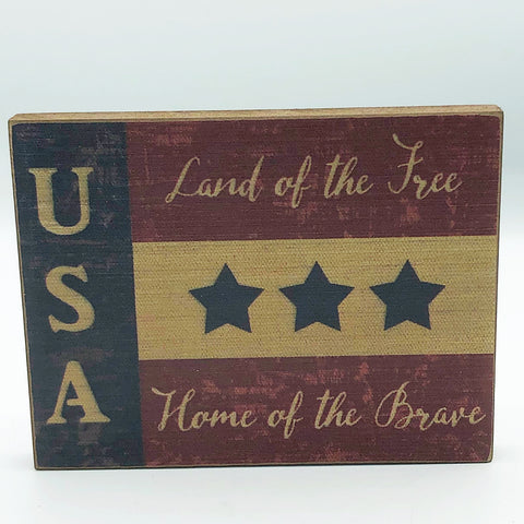 USA Land of the Free Flag Mini Block Sign
