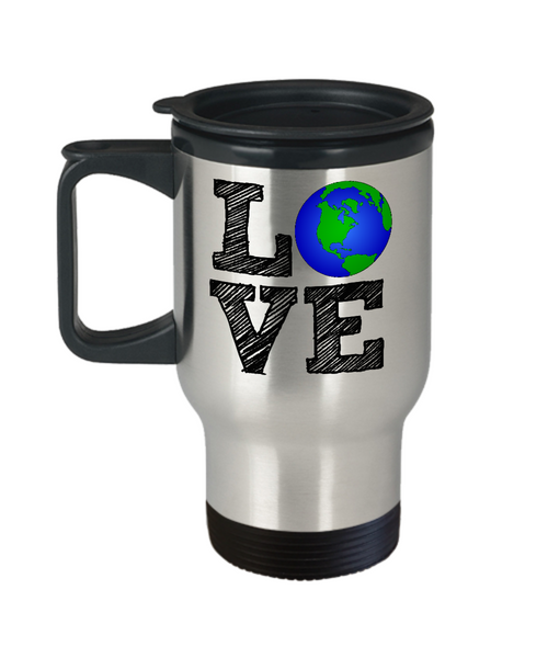 Love the Earth Mug - Love Earth Globe - 14 oz Travel Mug