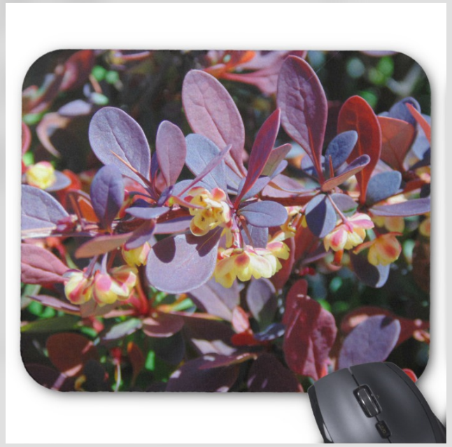 Floral Photo Mouse Pad - Burgundy and Yellow Blooms - Mouse Pad
