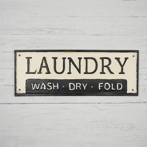 "Laundry - Wash Dry Fold - 17"" Tin Sign"