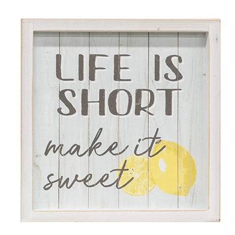 Life Is Short, Make It Sweet Framed Lemon Sign