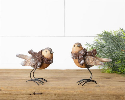 Set of 2 Sparrows in Winter Scarves Figures