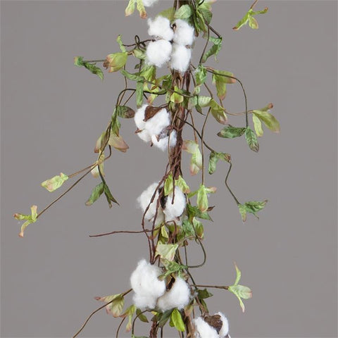 "Cotton and Leaves Twig Base 52"" Garland"