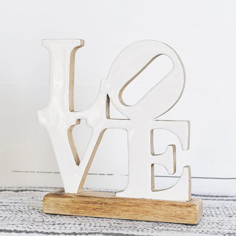 LOVE White Wooden Tabletop Sign