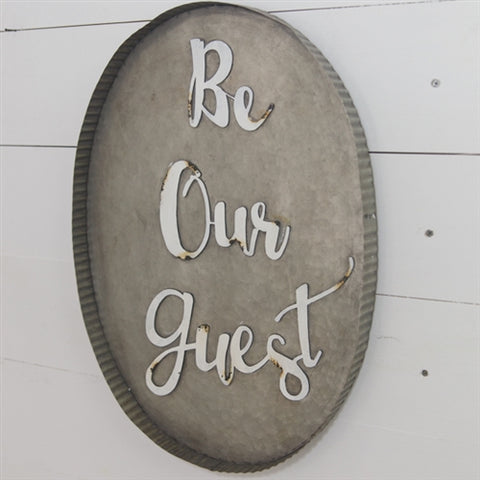 Be Our Guest - Oval Tin Tray Sign
