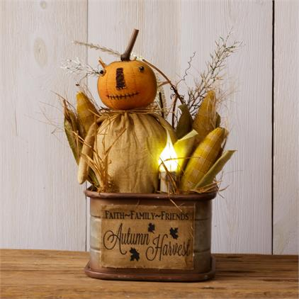 Lighted Autumn Harvest Pumpkin Friend in Tin