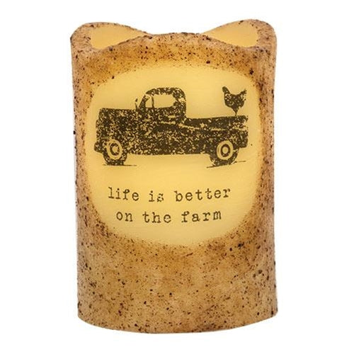 "Better on the Farm Truck 4.5"" Timer Pillar Candle"