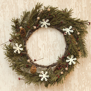 "Pine & Snowflakes 12"" Faux Wreath"
