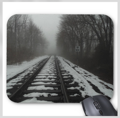 Black and White Photo Mousepad - Ghost Rails - Mouse Pad