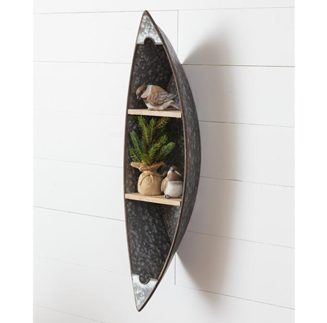 Canoe Double Shelved Rustic Wall Decor