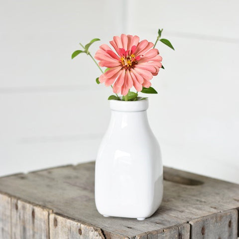 "White Dairy Bottle Vase 6"" H"