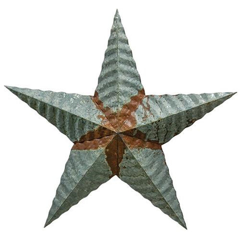 "Galvanized Corrugated 18"" Distressed Rusty Star"