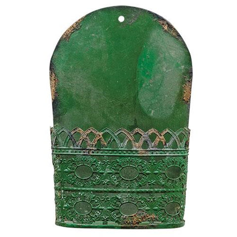 Green Rustic Metal Wall Pocket