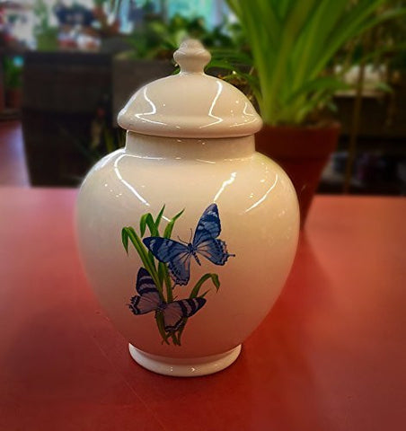 FTD Butterfly Ginger JAR Vase with Lid Blue Butterflies ,