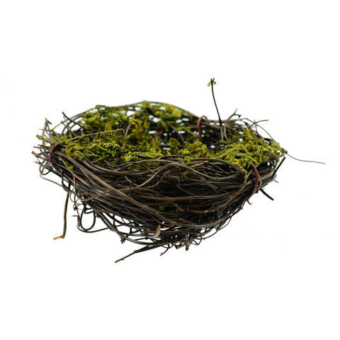 "Natural Angel Vine Mossy Decorative 3"" Bird Nest"
