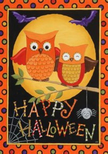 Happy Owl-oween Large Flag