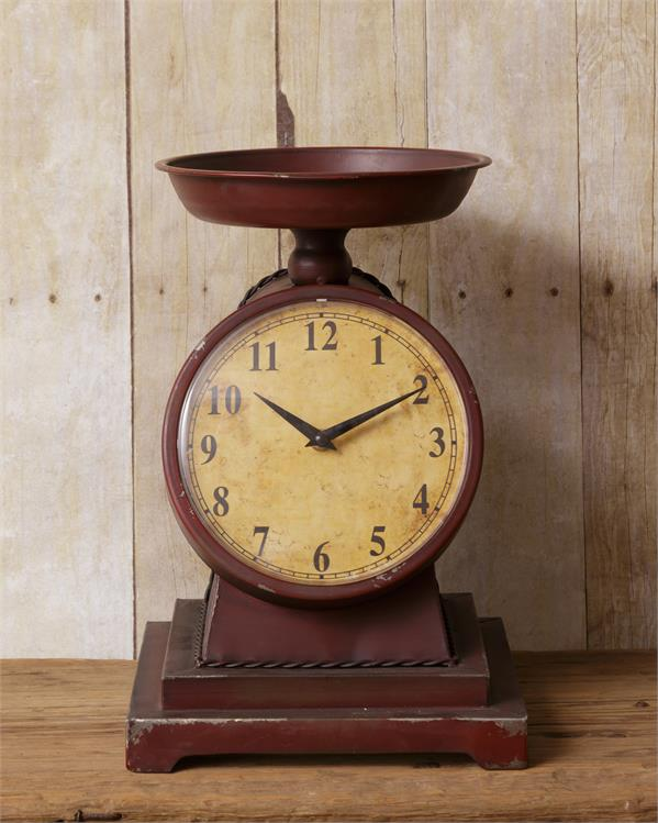 Vintage-style Burgundy Scale with Clock Face