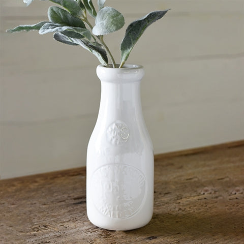 "White Milk Bottle Vase 7.25"" H"