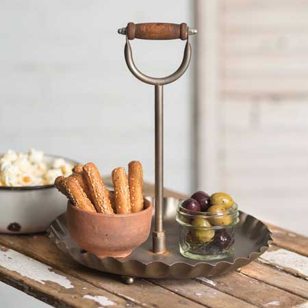 Rustic Big Handle Round Serving Display Tray