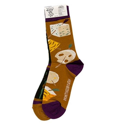 Wine & Cheese Graphic Socks Primitives by Kathy